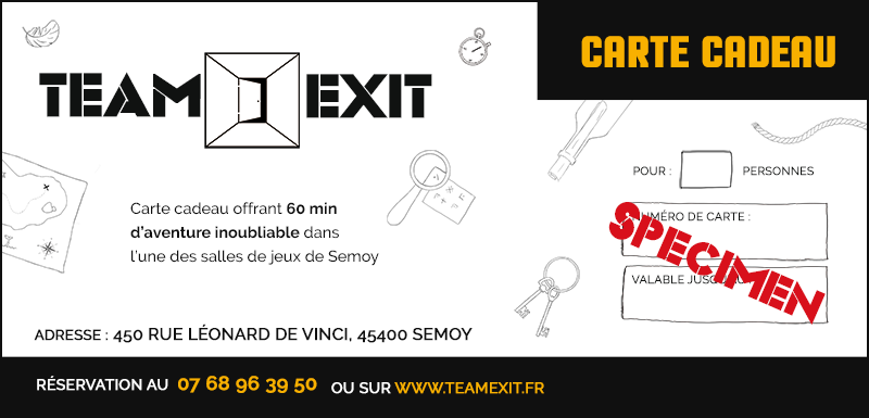 Carte cadeau Escape Game Team EXIT (Specimen)